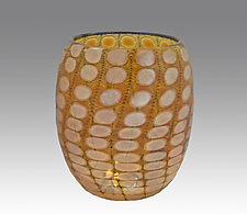 Yellow Shiny Transparent Nutty Bowl by Thomas Philabaum (Art Glass Bowl)