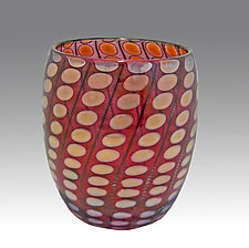 Red Shiny Transparent Nutty Bowl by Thomas Philabaum (Art Glass Bowl)