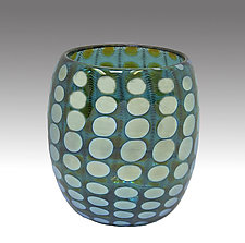 Teal Shiny Transparent Nutty Bowl by Thomas Philabaum (Art Glass Bowl)