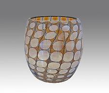 Gold Shiny Transparent Nutty Bowl by Thomas Philabaum (Art Glass Bowl)