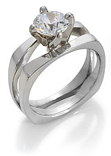 Modern Engagement Setting-14KT by Diana Widman (Gold Wedding Band)
