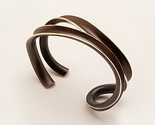 Parallel Weave Cuff Bracelet by Nancy Linkin (Bronze Bracelet)