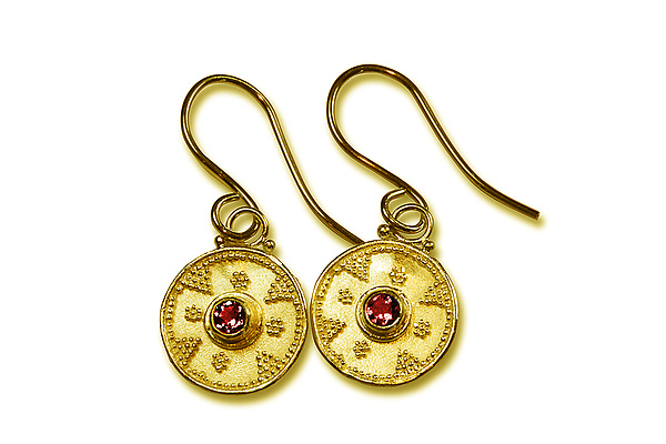 Ruby Granulated 22k Gold Earrings