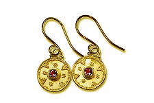 Ruby Granulated 22k Gold Earrings by Nancy Troske (Gold & Stone Earrings)