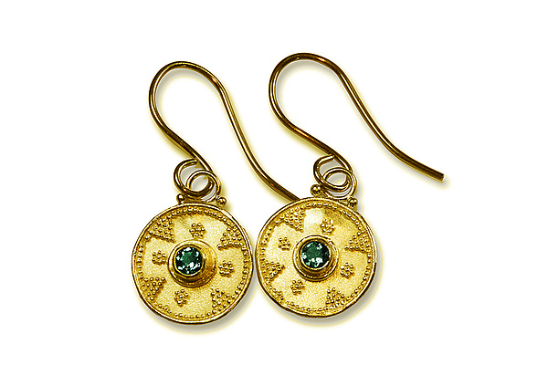 Emerald Granulated 22k Gold Earrings
