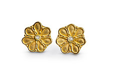 Rosette Earrings in 22k & Diamond by Nancy Troske (Gold & Stone Earrings)