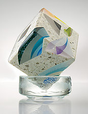 Tectonic Cube by Paul D. Harrie (Art Glass & Concrete Paperweight)