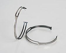Large Box Hoop by Hilary Hachey (Silver Earrings)