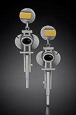 Hanging Art Deco Earrings by Michele LeVett (Gold, Silver & Stone Earrings)