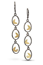 Framed Leaf Trio Earring by Jamie Cassavoy (Gold, Silver & Stone Earrings)