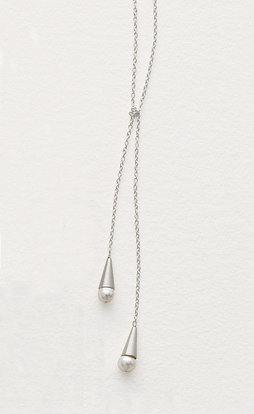 Pearl and Silver Lariat