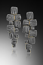 Walk of Pavers by Victoria Moore (Gold & Steel Earrings)