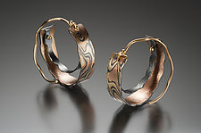 Petite Cali Giant Hoop in Sedona Nights Mokume by Lisa Jane Grant (Gold & Silver Earrings)