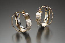 Petite Cali Giant Hoop in Aspen Nights Mokume by Lisa Jane Grant (Gold & Silver Earrings)