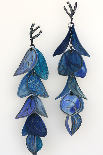 Upturned Petal Blossom Earrings in Cobalt and Azure