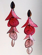 Graduated Pink Flip Blossom Earrings by Carol Windsor (Silver & Paper Earrings)