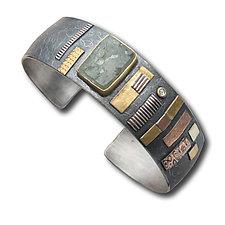 Mosaic Cuff by Lynda Bahr (Gold & Silver Bracelet)