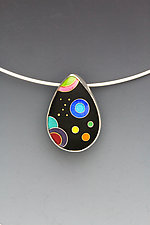 Small Black Galaxy Teardrop Pendant by Anna Tai (Enameled Necklace)