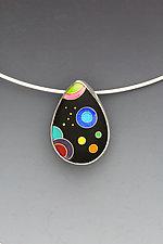 Small Black Galaxy Teardrop Pendant by Anna Tai (Enameled Necklace)