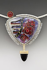 Red and Black Triangle Abstract Pendant by Anna Tai (Enameled Necklace)