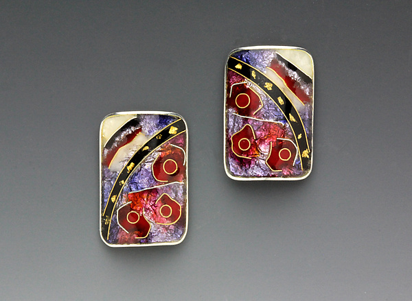 Red and Black Rectangular Abstract Earrings
