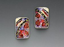 Red and Black Rectangular Abstract Earrings by Anna Tai (Enameled Earrings)