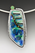 Blue and Green Abstract Pendant by Anna Tai (Enameled Necklace)