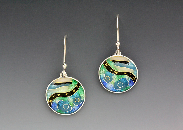 Blue and Green Circular Abstract Earrings
