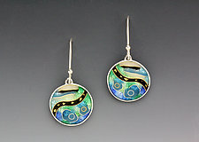 Blue and Green Circular Abstract Earrings by Anna Tai (Enameled Earrings)
