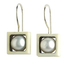 Juma Squares with Pearls by Victoria Varga (Silver & Resin Earrings)