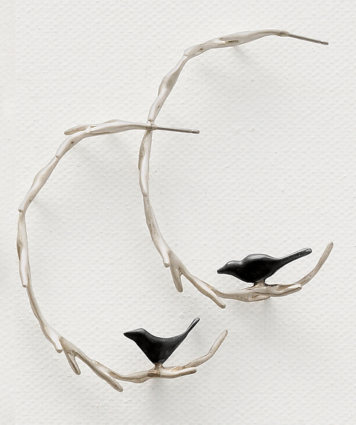 Vine with Black Birds Hoops