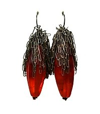 Calyx Earrings - Flame by Kate Rothra Fleming (Art Glass Earrings)