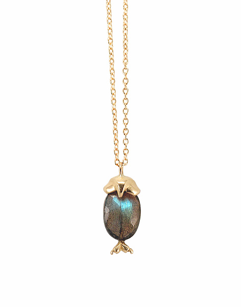 14k Gold and Labradorite Owl Pendant
