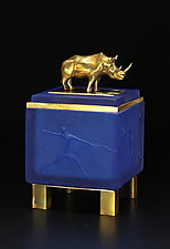 Blue Rhino Box by Georgia Pozycinski and Joseph Pozycinski (Art Glass & Bronze Sculpture)