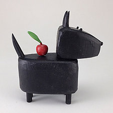 Apple Scottie by Hilary Pfeifer (Wood Sculpture)