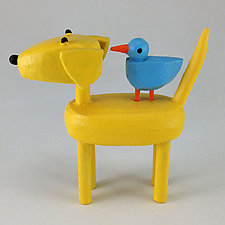 Yellow Dog with Bluebird by Hilary Pfeifer (Wood Sculpture)