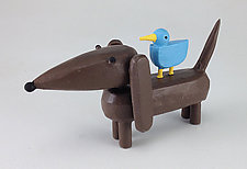 Dachshund with Bluebird Buddy by Hilary Pfeifer (Wood Sculpture)