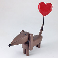 Dachshund with Heart Balloon by Hilary Pfeifer (Wood Sculpture)