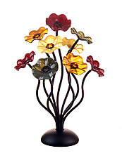 9 Flower Bouquet Breckenridge Color Combo by Scott Johnson and Shawn Johnson (Art Glass Sculpture)