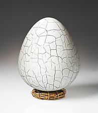 Crackled Dragon Egg by Elodie Holmes (Art Glass Sculpture)