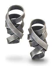 Wrapped Ribbon Earrings by Rina S. Young (Silver Earrings)