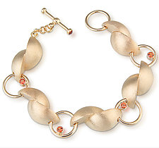 14kt Yellow Gold Bracelet with Orange Sapphires by Alexan Cerna (Gold & Stone Bracelet)