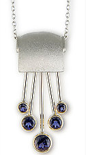 18kt White Gold Iolite Pendant on Chain by Alexan Cerna (Gold & Stone Necklace)