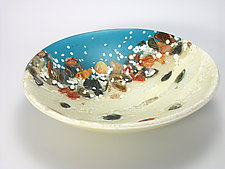 Riverstone Series Bowl - Caribbean Beach by Flo Ulrich Becker (Art Glass Bowl)