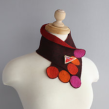 Petite Scarflette with Brooch by Mila Sherrer  (Felted Wool Scarf)