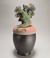 Lizard on Black Acorn Box by Nancy Y. Adams (Ceramic Sculpture)