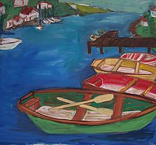 Three Boats by Elisa Root (Oil Painting)