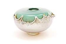 Turquoise Overlay Seed Bowl by Dierk Van Keppel (Art Glass Bowl)