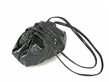 Shibori Dumpling Leather Bag in Black by Yuh  Okano (Silk & Leather Purse)