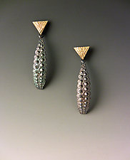 Trident Oblong Drop by Hratch Babikian (Gold & Silver Earrings)